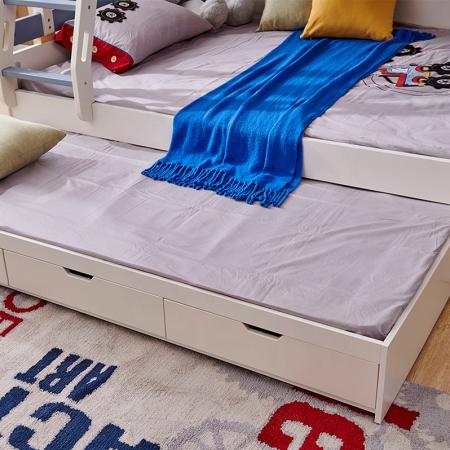 Pat supraetajat Guard  din lemn masiv si MDF, cu 3 sertare pentru depozitare,  scară si dulap depozitare 4 sertare pentru dormitor copii cod 918 [11]