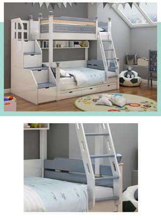 Pat supraetajat Guard  din lemn masiv si MDF, cu 3 sertare pentru depozitare,  scară si dulap depozitare 4 sertare pentru dormitor copii cod 918 [4]