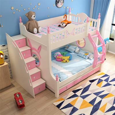 Pat supraetajat Buny Pink din lemn masiv stejar si MDF, cu 3 sertare pentru depozitare,  scară si dulap depozitare 5 sertare pentru dormitor copii cod 910P0