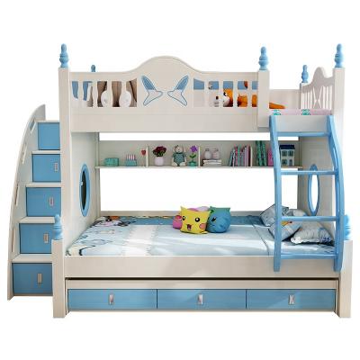 Pat supraetajat Buny Pink din lemn masiv stejar si MDF, cu 3 sertare pentru depozitare,  scară si dulap depozitare 5 sertare pentru dormitor copii cod 910P7