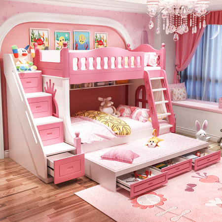 Paturi supraetajate Corel  Roz din lemn masiv si MDF, cu 3 sertare pentru depozitare,  scară si dulap depozitare 4 sertare pentru dormitor copii cod A08R0