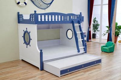Paturi supraetajate Marshall Albastru din lemn masiv si MDF, cu 3 sertare pentru depozitare,  scară si dulap depozitare 5 sertare pentru dormitor copii cod 61112
