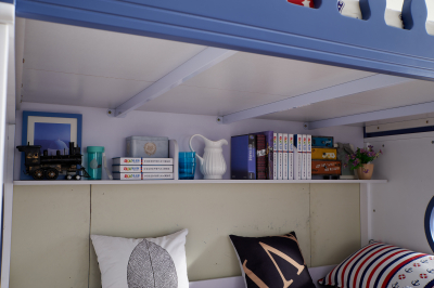 Pat supraetajat Marshall Albastru din lemn masiv stejar si MDF, cu 3 sertare pentru depozitare,  scară si dulap depozitare 5 sertare pentru dormitor copii cod 61117