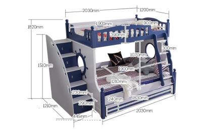 Paturi supraetajate Marshall Albastru din lemn masiv si MDF, cu 3 sertare pentru depozitare,  scară si dulap depozitare 5 sertare pentru dormitor copii cod 61113