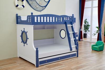 Pat supraetajat Marshall Albastru din lemn masiv stejar si MDF, cu 3 sertare pentru depozitare,  scară si dulap depozitare 5 sertare pentru dormitor copii cod 61115