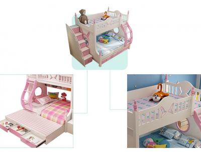 Pat supraetajat Buny Pink din lemn masiv stejar si MDF, cu 3 sertare pentru depozitare,  scară si dulap depozitare 5 sertare pentru dormitor copii cod 910P2