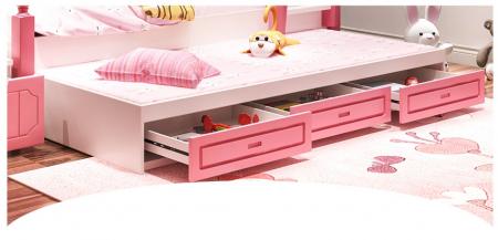 Paturi supraetajate Corel  Roz din lemn masiv si MDF, cu 3 sertare pentru depozitare,  scară si dulap depozitare 4 sertare pentru dormitor copii cod A08R4