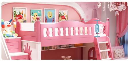 Paturi supraetajate Corel  Roz din lemn masiv si MDF, cu 3 sertare pentru depozitare,  scară si dulap depozitare 4 sertare pentru dormitor copii cod A08R5