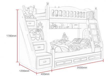 Paturi supraetajate Corel  Roz din lemn masiv si MDF, cu 3 sertare pentru depozitare,  scară si dulap depozitare 4 sertare pentru dormitor copii cod A08R6