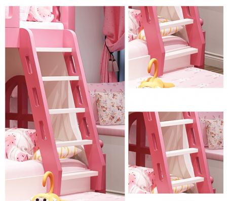 Paturi supraetajate Corel  Roz din lemn masiv si MDF, cu 3 sertare pentru depozitare,  scară si dulap depozitare 4 sertare pentru dormitor copii cod A08R2