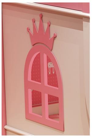 Paturi supraetajate Corel  Roz din lemn masiv si MDF, cu 3 sertare pentru depozitare,  scară si dulap depozitare 4 sertare pentru dormitor copii cod A08R3