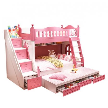 Paturi supraetajate Corel  Roz din lemn masiv si MDF, cu 3 sertare pentru depozitare,  scară si dulap depozitare 4 sertare pentru dormitor copii cod A08R1