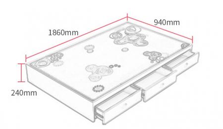 Paturi supraetajate Corel  Roz din lemn masiv si MDF, cu 3 sertare pentru depozitare,  scară si dulap depozitare 4 sertare pentru dormitor copii cod A08R7