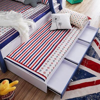 Paturi supraetajate Marshall Albastru din lemn masiv si MDF, cu 3 sertare pentru depozitare,  scară si dulap depozitare 5 sertare pentru dormitor copii cod 6117