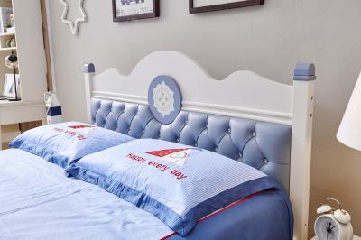Set mobilier Bingo din MDF si lemn masiv stejar pentru camera copii 4 piese: pat 120 x 190cm, noptiera, dulap 3 usi, birou -cod 89213
