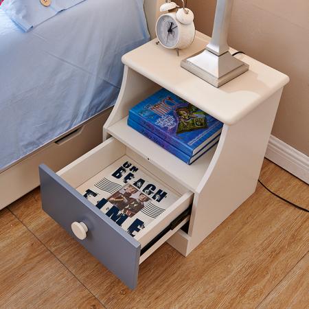 Set mobilier Tom din MDF si lemn masiv pentru camera copii 4 piese: pat 120 x 190cm, noptiera, dulap 3 usi, birou -cod 8919 [11]