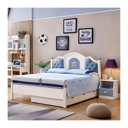 Set mobilier Tom din MDF si lemn masiv pentru camera copii 4 piese: pat 120 x 190cm, noptiera, dulap 3 usi, birou -cod 8919 [1]