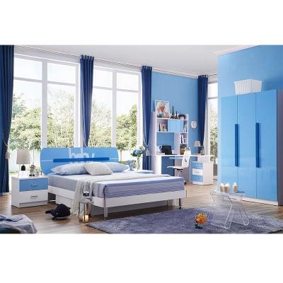 Set mobilier Blue din MDF pentru camera copii 4 piese: pat 120/190cm cu 2 sertare depozitare, noptieră, dulap 3 usi, birou - cod 88620