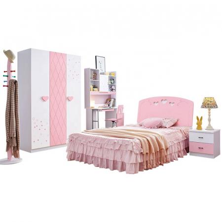 Set mobilier Ballerina din MDF pentru camera copii 4 piese: pat 120 x 190 cm, noptiera, dulap 3 usi si birou drept -cod 8721