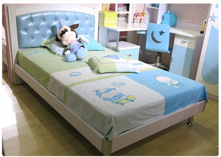 Pat  Donald din MDF pentru camera copii cu 2 sertare depozitare 120 x 200cm si noptieră- cod 871P1