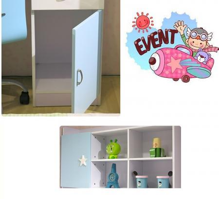Set mobilier Sirena din MDF pentru camera copii 4 piese: pat tapițat cu 2 sertare depozitare, noptieră, dulap 3 usi, birou - cod 8734