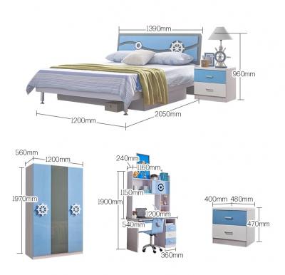 Set mobilier Rocky din MDF pentru camera copii 4 piese: pat 120/190cm cu 2 sertare depozitare, noptieră, dulap 3 usi, birou - cod 8119 [1]