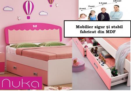 Set mobilier  Princess din MDF 5 piese: pat 120/200 cm cu 2 sertare depozitare, noptieră, dulap 2 usi, birou drept si scaun pentru cameră copii cod 8862D7