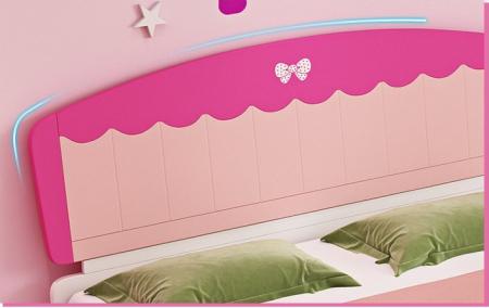 Set mobilier  Princess din MDF 5 piese: pat 120/200 cm cu 2 sertare depozitare, noptieră, dulap 2 usi, birou drept si scaun pentru cameră copii cod 8862D4