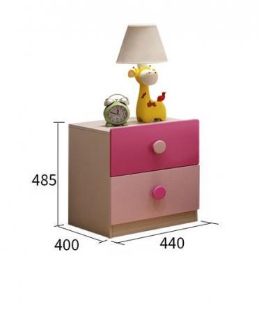 Set mobilier  Princess din MDF 5 piese: pat 120/200 cm cu 2 sertare depozitare, noptieră, dulap 2 usi, birou drept si scaun pentru cameră copii cod 8862D1