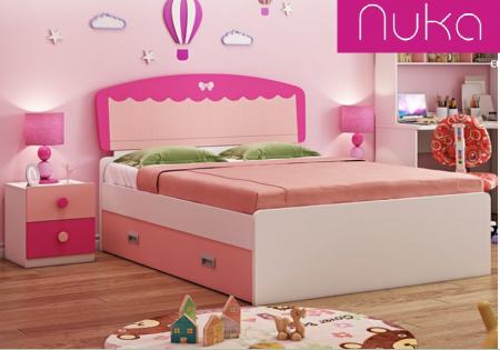 Set mobilier  Princess din MDF 5 piese: pat 120/200 cm cu 2 sertare depozitare, noptieră, dulap 2 usi, birou drept si scaun pentru cameră copii cod 8862D6