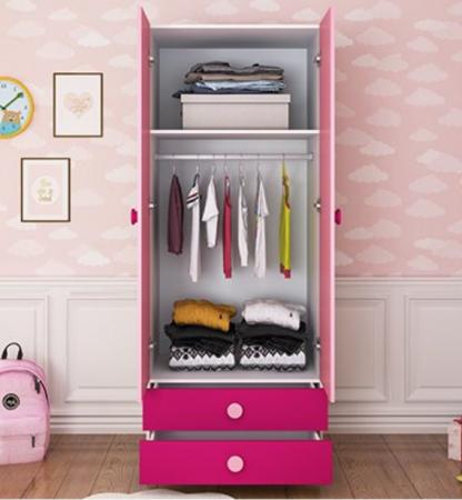 Set mobilier  Princess din MDF 5 piese: pat 120/200 cm cu 2 sertare depozitare, noptieră, dulap 2 usi, birou drept si scaun pentru cameră copii cod 8862D8