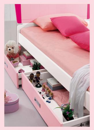 Set mobilier  Princess din MDF 5 piese: pat 120/200 cm cu 2 sertare depozitare, noptieră, dulap 2 usi, birou drept si scaun pentru cameră copii cod 8862D5