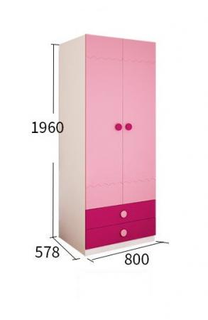 Set mobilier  Princess din MDF 5 piese: pat 120/200 cm cu 2 sertare depozitare, noptieră, dulap 2 usi, birou drept si scaun pentru cameră copii cod 8862D2