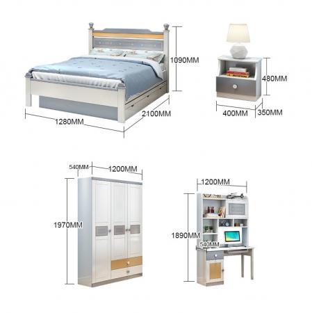 Set mobilier Guarddin MDF si lemn masiv pentru camera copii 4 piese: pat 120 x 190cm, noptiera, dulap 3 usi, birou -cod 8913 [2]