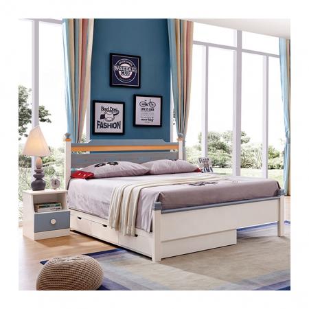 Set mobilier Guarddin MDF si lemn masiv pentru camera copii 4 piese: pat 120 x 190cm, noptiera, dulap 3 usi, birou -cod 8913 [3]