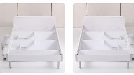 Set mobilier  Mimi din MDF 4 piese: pat 120/200cm cu 2 sertare, noptieră, dulap 3 usi și birou colț pentru camera fete3