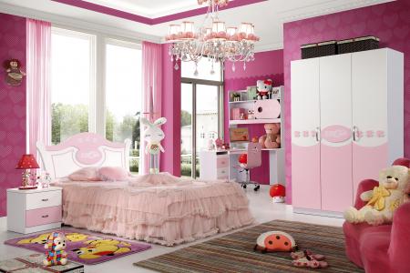 Set mobilier  Mimi din MDF 4 piese: pat 120/200cm cu 2 sertare, noptieră, dulap 3 usi și birou colț pentru camera fete0