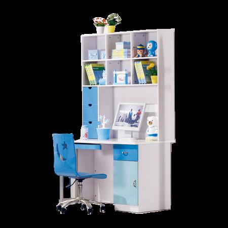 Set mobilier Stars din MDF 4 piese: pat 120/200 cm cu 2 sertare depozitare, noptieră, dulap 2 usi, birou  drept pentru cameră copii cod 8516