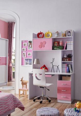 Set mobilier Childhood din MDF pentru camera copii 4 piese: pat 120 x 190cm, noptiera, dulap 2 usi, birou -cod 8861 [8]