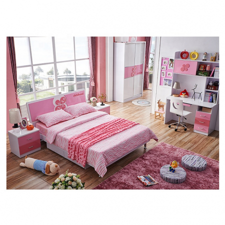 Set mobilier Childhood din MDF pentru camera copii 4 piese: pat 120 x 190cm, noptiera, dulap 2 usi, birou -cod 8861 [1]