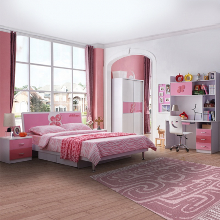 Set mobilier Childhood din MDF pentru camera copii 4 piese: pat 120 x 190cm, noptiera, dulap 2 usi, birou -cod 8861 [0]