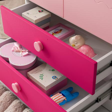 Set mobilier  Princess din MDF 5 piese: pat 120/200 cm cu 2 sertare depozitare, noptieră, dulap 2 usi, birou drept si scaun pentru cameră copii cod 8862D11