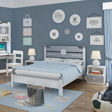 Set mobilier Robin din MDF si lemn masiv stejar pentru camera copii 4 piese: pat 120 x 190cm, noptiera, dulap 3 usi, birou -cod 89183