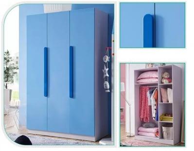 Set mobilier Blue din MDF pentru camera copii 4 piese: pat 120/190cm cu 2 sertare depozitare, noptieră, dulap 3 usi, birou - cod 88625