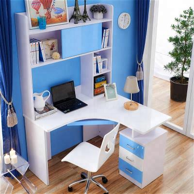 Set mobilier Blue din MDF pentru camera copii 4 piese: pat 120/190cm cu 2 sertare depozitare, noptieră, dulap 3 usi, birou - cod 88627