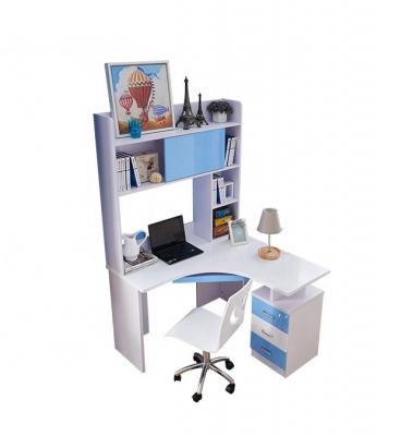 Set mobilier Blue din MDF pentru camera copii 4 piese: pat 120/190cm cu 2 sertare depozitare, noptieră, dulap 3 usi, birou - cod 88628