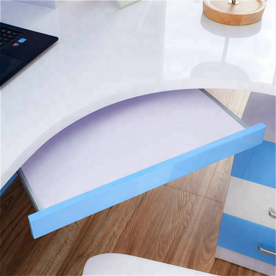 Set mobilier Blue din MDF pentru camera copii 4 piese: pat 120/190cm cu 2 sertare depozitare, noptieră, dulap 3 usi, birou - cod 88629