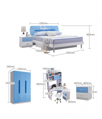 Set mobilier Blue din MDF pentru camera copii 4 piese: pat 120/190cm cu 2 sertare depozitare, noptieră, dulap 3 usi, birou - cod 886211