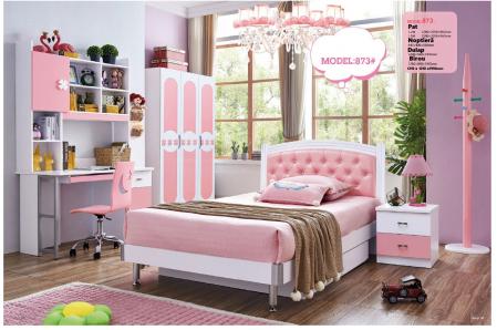 Set mobilier Sirena din MDF pentru camera copii 4 piese: pat tapițat cu 2 sertare depozitare, noptieră, dulap 3 usi, birou - cod 8730