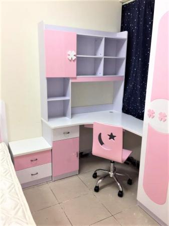 Set mobilier Sirena din MDF pentru camera copii 4 piese: pat tapițat cu 2 sertare depozitare, noptieră, dulap 3 usi, birou - cod 8737